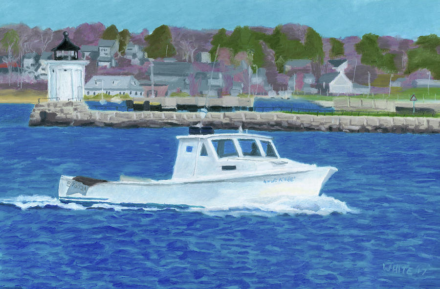 Lobster Boat and Bug Light by Dominic White