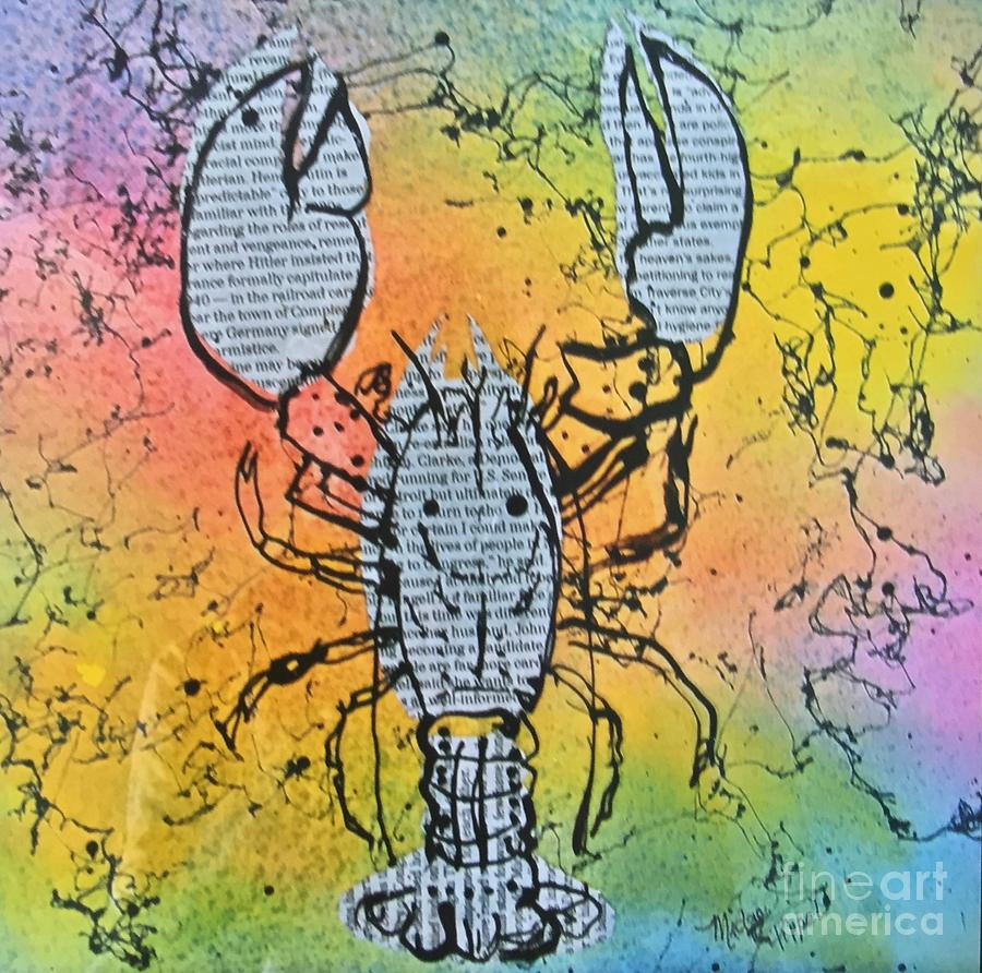 Lobster Painting -  Lobster Reads The Newspaper by Midge Pippel