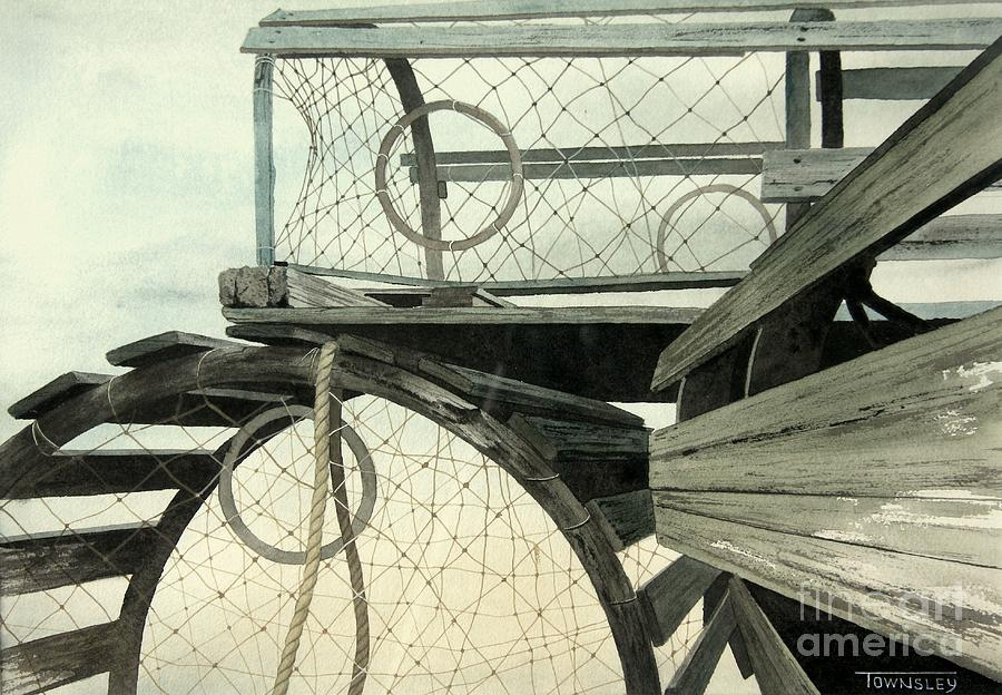 Lobster Traps Painting - Lobster Traps by Frank Townsley