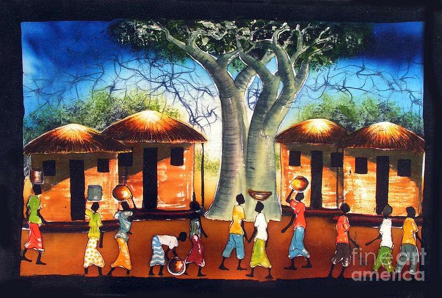 African Painting - Local Community by Ted Samuel Mkoweka