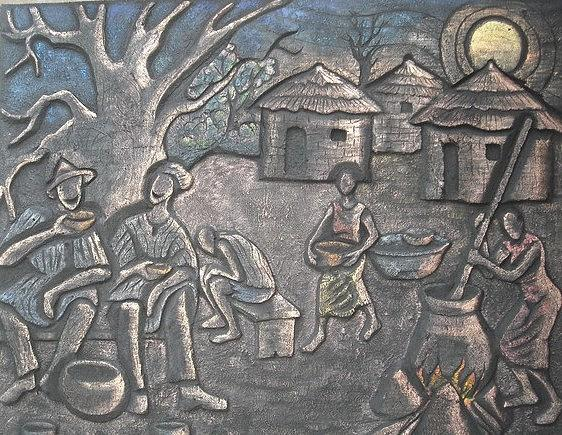 African Village Scene Relief - Local Pub by Sylvester Banahene