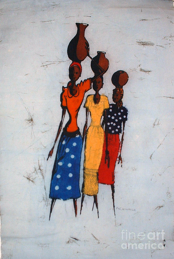 African Painting - Local Transport by Mussa Chiwaula