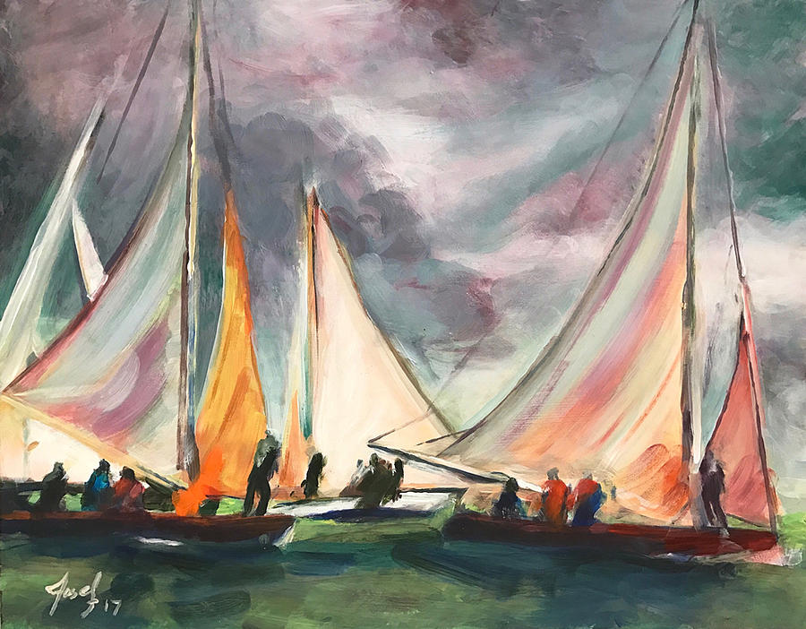 Hope Town Painting - Locals at Sea by Josef Kelly