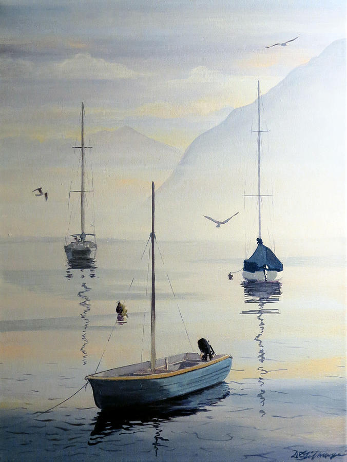 Locarno Boats in February by David Gilmore