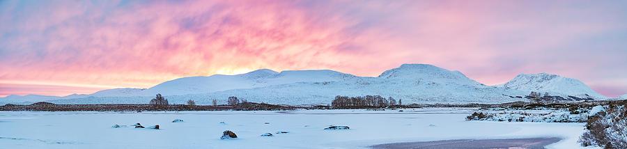 Snow Photograph - Loch Ba Panoramic Sunrise by Grant Glendinning