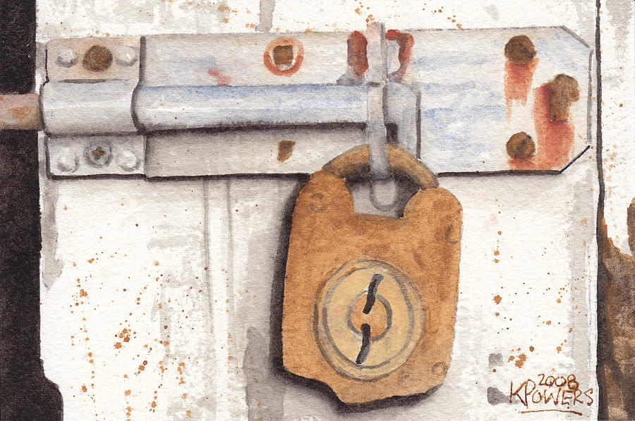 Rust Painting - Lock And Latch by Ken Powers