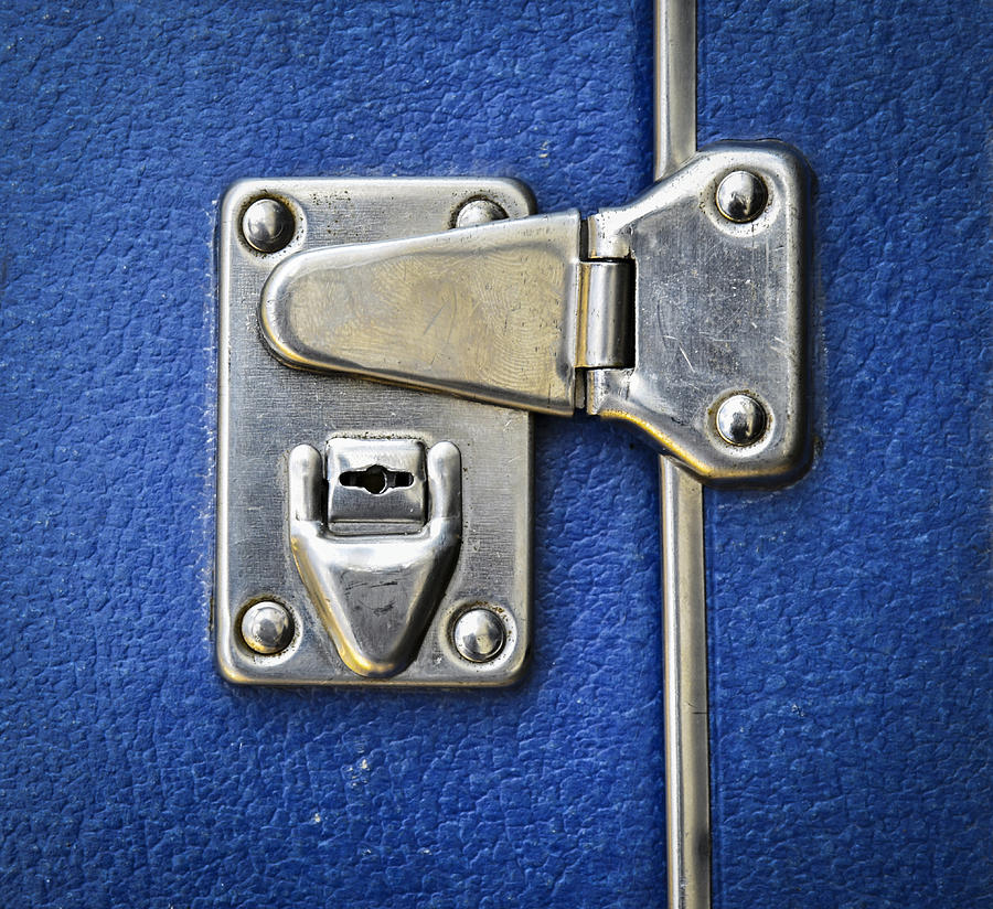 Metal Photograph - Lock On A Blue Suitcase by Jozef Jankola