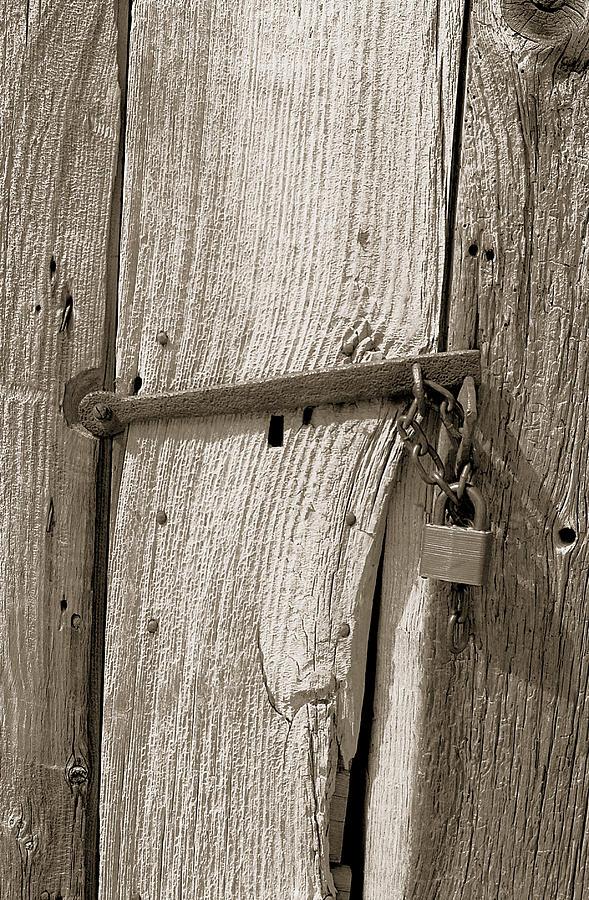 Wood Photograph - Locked Door by Pat Carosone