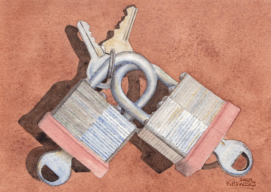 Lock Painting - Locked In An Embrace by Ken Powers