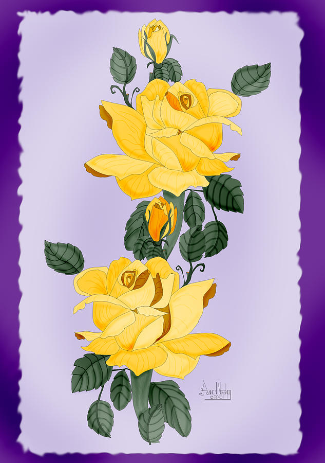 Yellow Roses Painting - Locked In Color by Anne Norskog