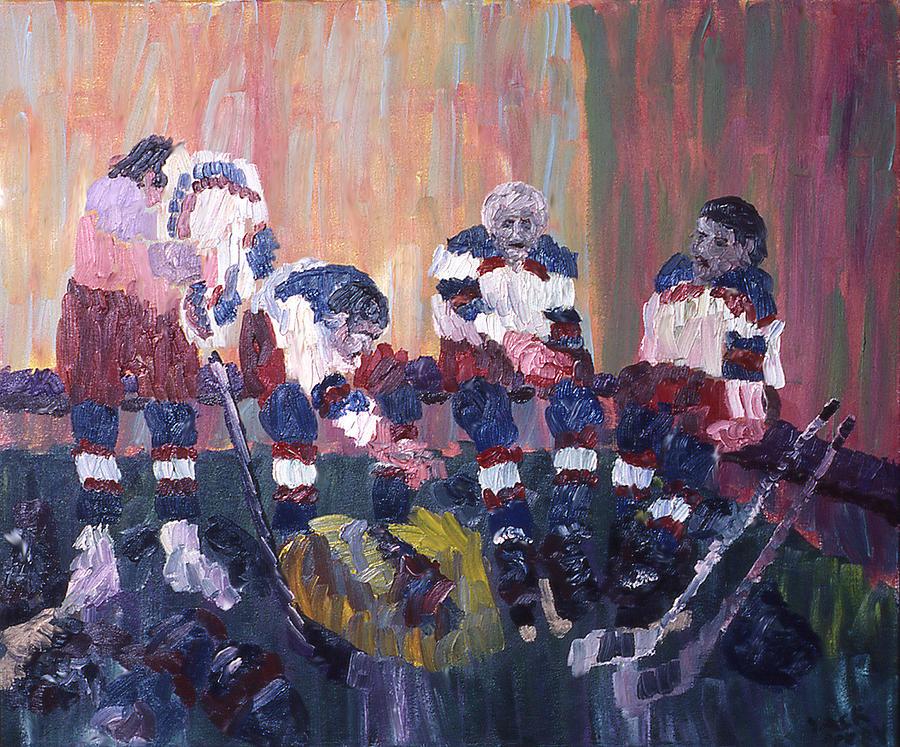 Hockey Painting - Locker Room by Ken Yackel