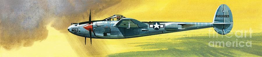 Wilf Painting - Lockheed P-38j Lightning by Wilf Hardy