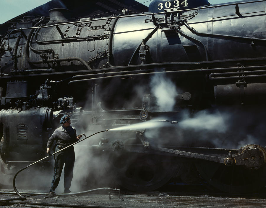 Locomotive Gets A Steam Bath - 1943 Photograph