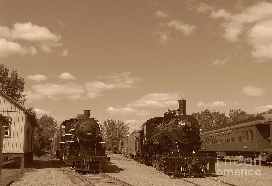 Locomotives Photograph - Locomotives In Sepia by Charles Robinson