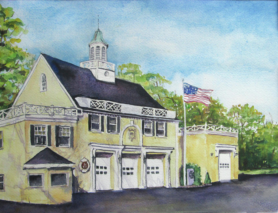 Fire Department Painting - Locust Valley Firehouse by Susan Herbst