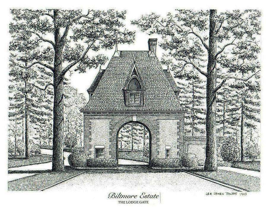 Biltmore Estate Drawing - Lodge Gate at Biltmore Estate by Lee Pantas