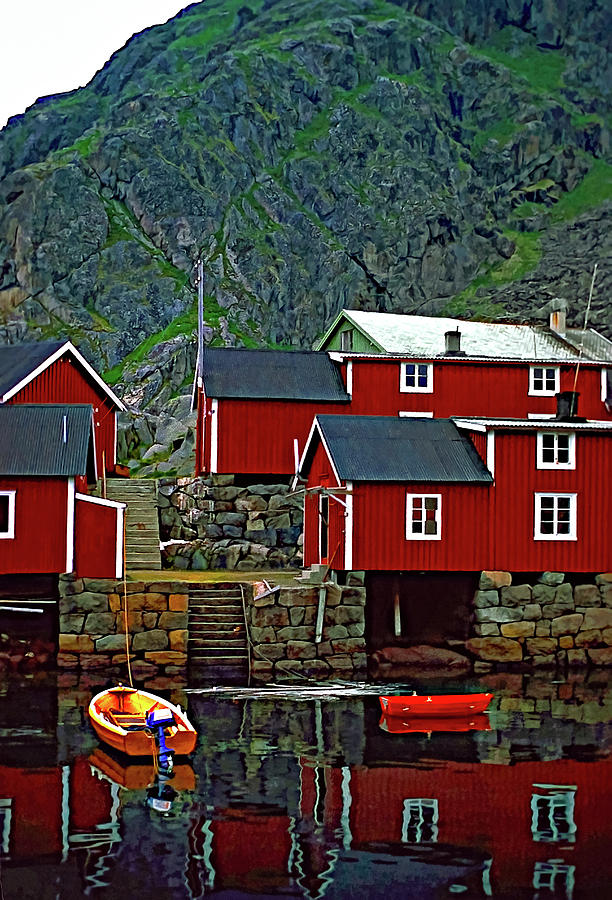 Lofoten Photograph - Lofoten Fishing Huts Oil by Steve Harrington