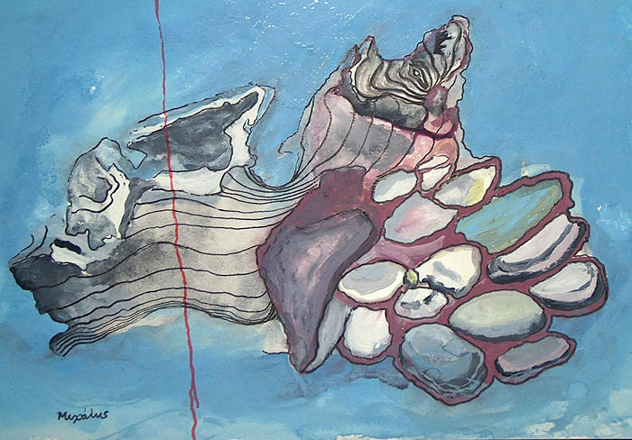 L Painting - Log And Pebbles by Odysseus Yakoumakis