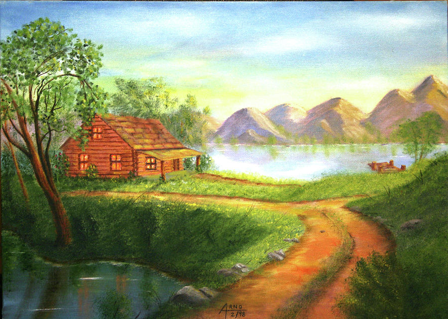 Log cabin painting by arno clabaugh for Log cabin painting