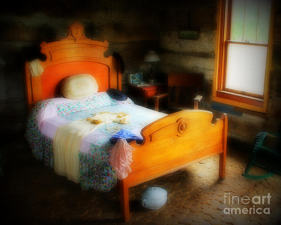Bed Photograph - Log Cabin Bedroom by Perry Webster