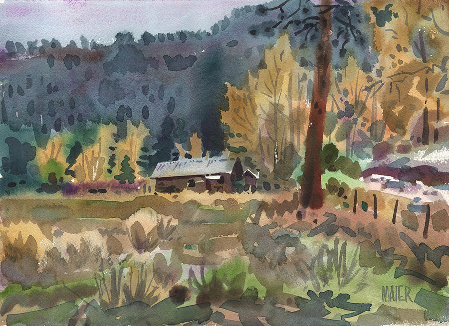 Log Cabin Paintings ~ Log cabin painting by donald maier