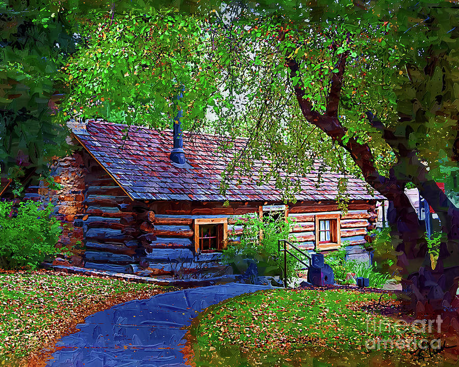 Log Cabin Digital Art - Log Cabin In The Woods by Kirt Tisdale