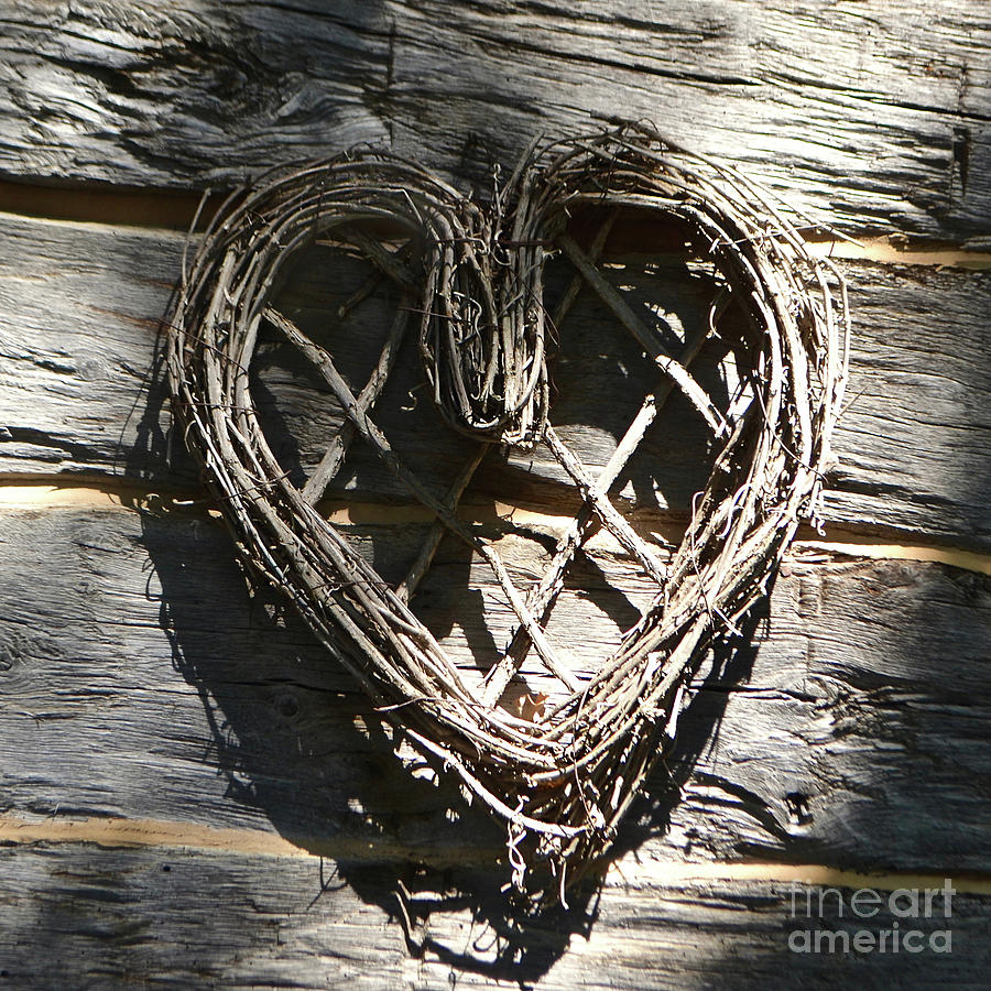 Valentine Photograph - Log Cabin Love by Ron Long