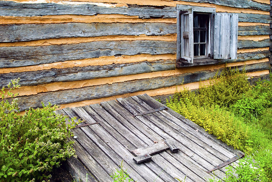 Log Cabin Photograph - Log Cabin Storm Cellar Door by Paul W Faust -  Impressions of Light