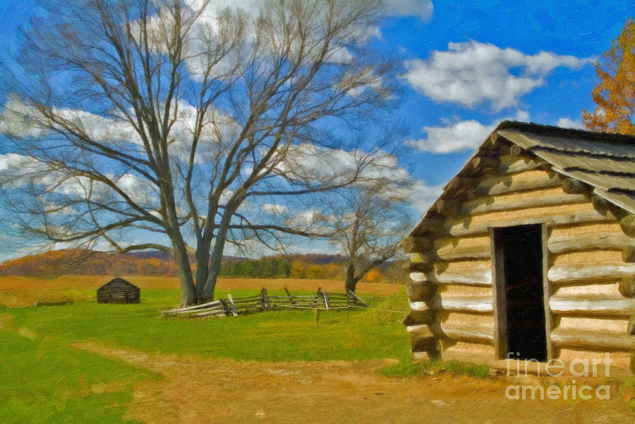 Valley Forge Photograph - Log Cabin Valley Forge Pa by David Zanzinger