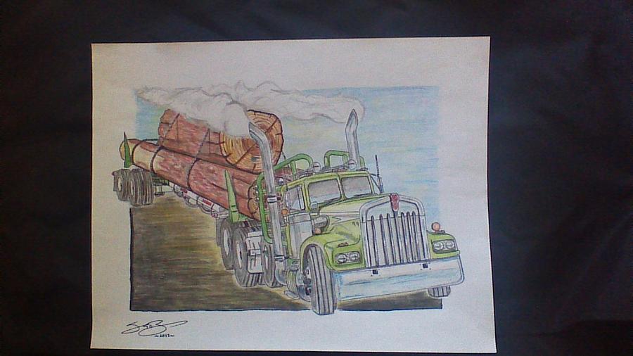 Log Truck Drawing by Scott Bishop