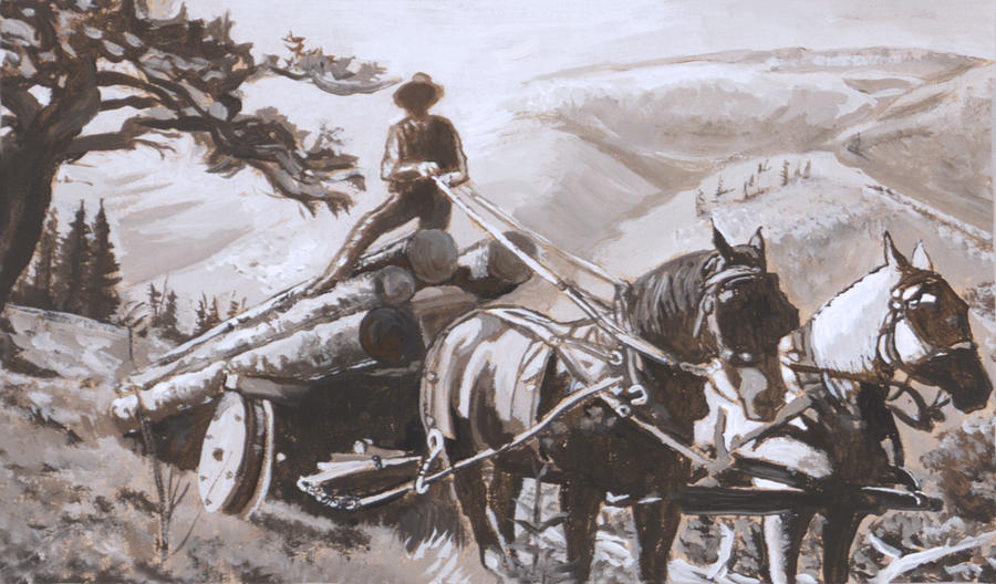 Historical Painting - Log Wagon Historical Vignette by Dawn Senior-Trask