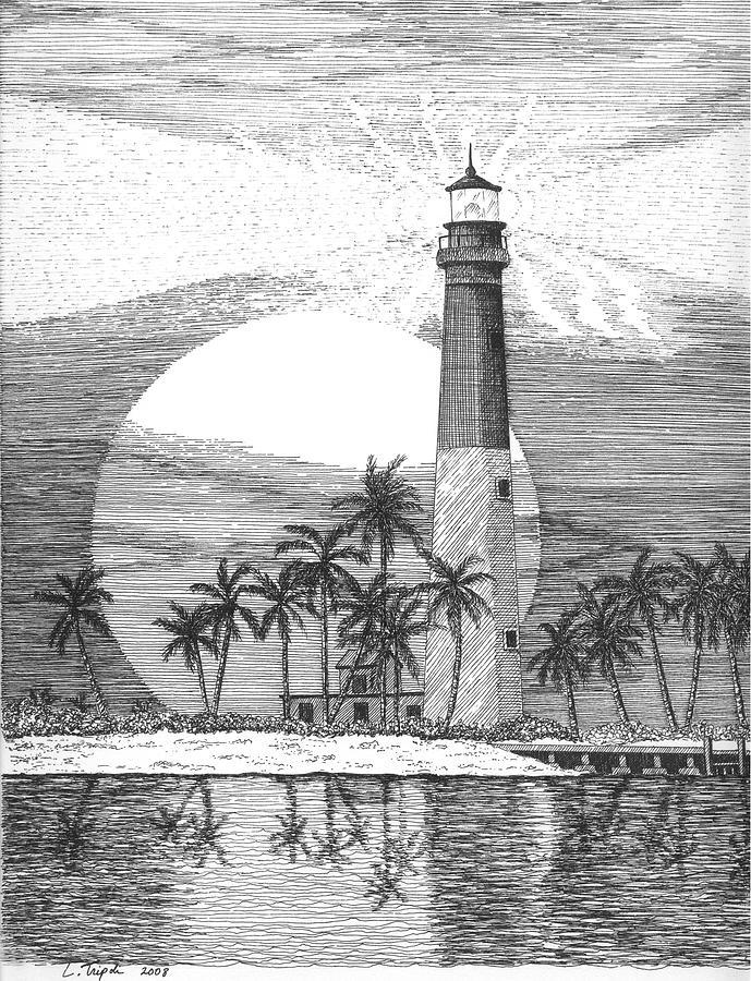 Loggerhead Key Lighthouse Drawing By Lawrence Tripoli