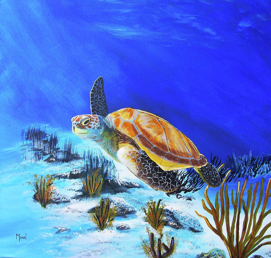 Atlantic Ocean Painting - Loggerhead Sea Turtle by John Moon