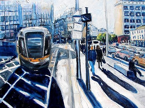 Dublin Painting - Logjam And The Luas Tram by Caoimhghin OCroidheain