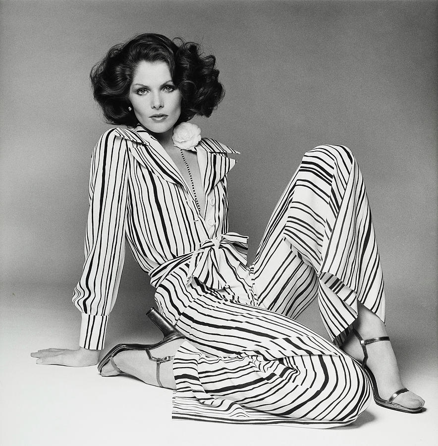 Lois Chiles Wearing A Striped Pajama And Blouse Photograph by Francesco Scavullo
