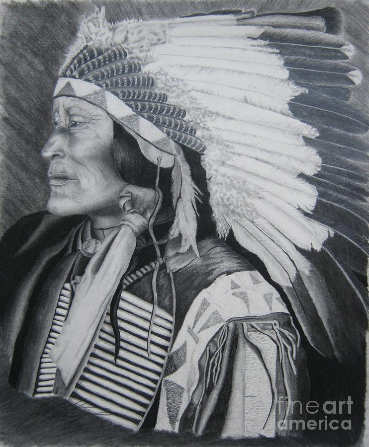 Native American Drawing - Lokata Chief by John Huntsman