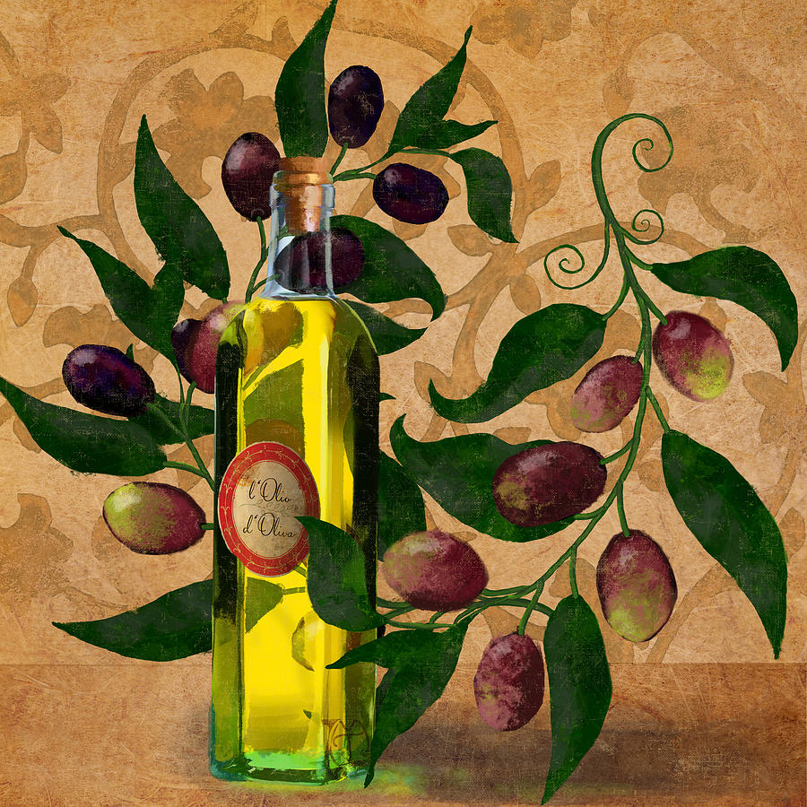L 39 olivo d 39 oliva olives italian food olive oil kitchen for Kitchen paintings pictures
