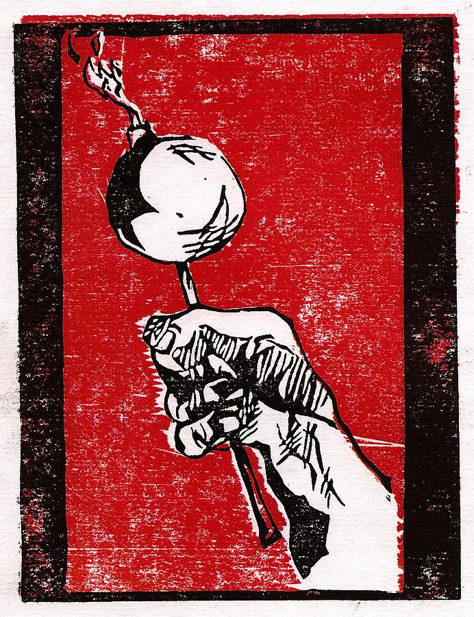 Printmaking Drawing - Lolli-bomb by Bradley Hendricks