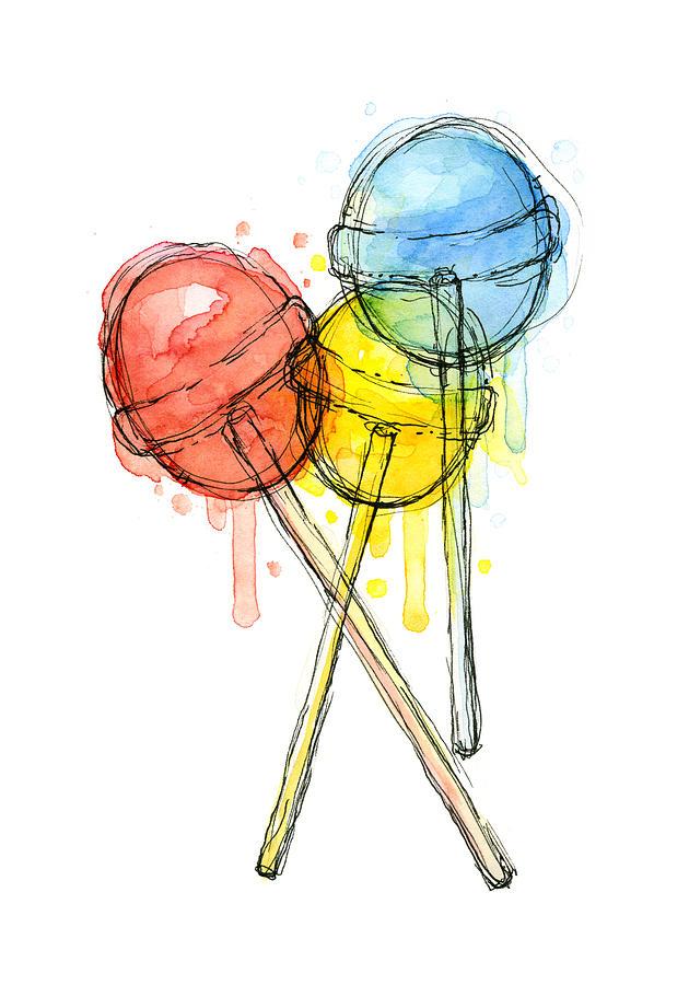 Lollipop Painting - Lollipop Candy Watercolor by Olga Shvartsur