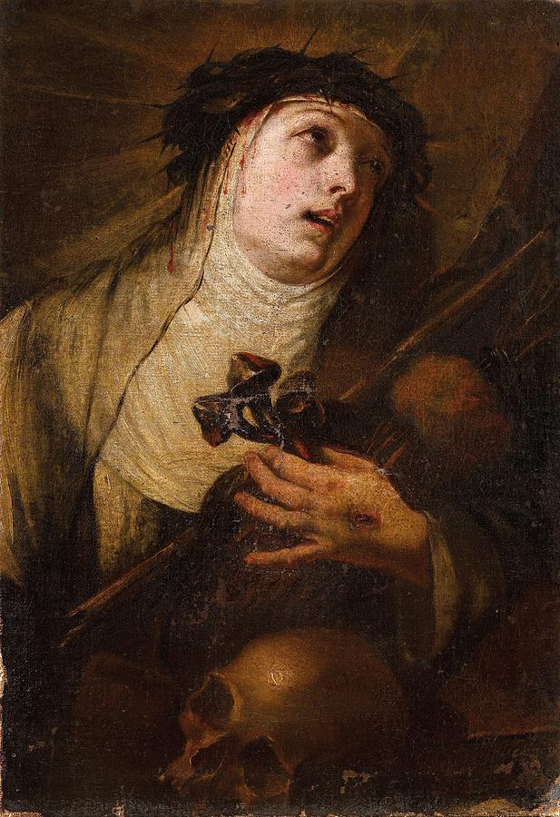Girl Painting - Lombard School, 17th Century Saint Catherine Of Siena by Lombard School