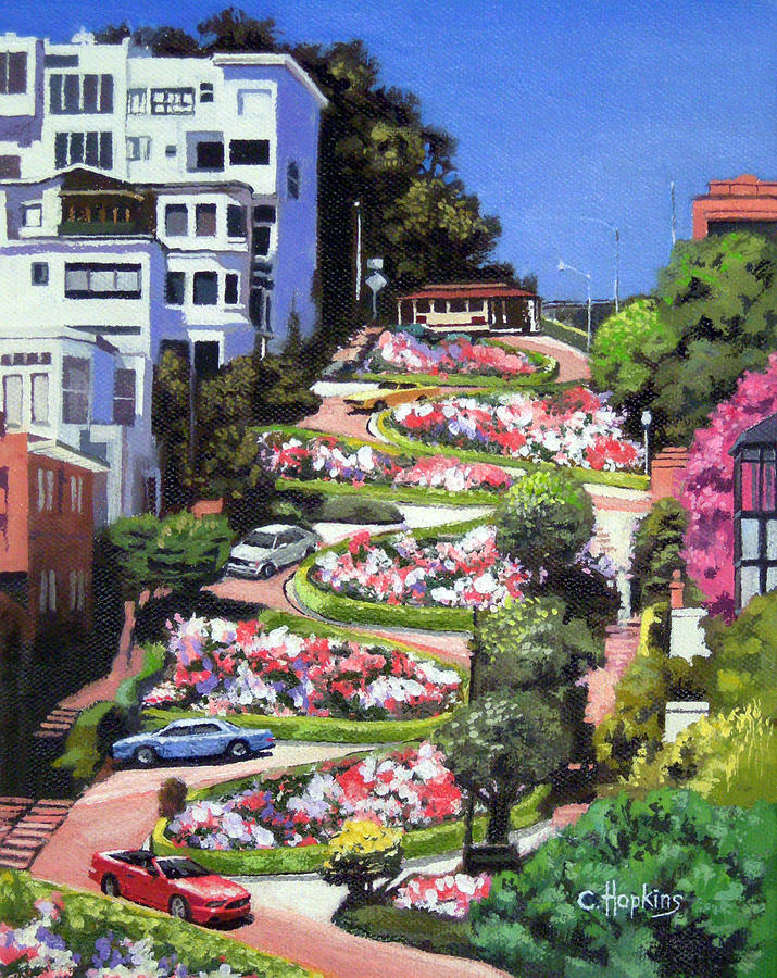 Exceptionnel Lombard Street - San Francisco, California Painting by Christine  XB95