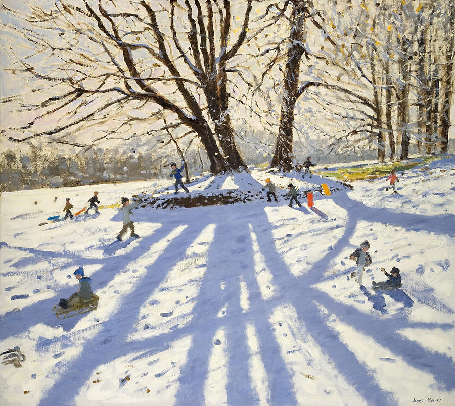 Winter Painting - Lomberdale Hall Derbyshire  by Andrew Macara