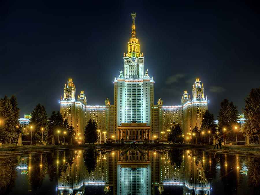Lomonosov Photograph - Lomonosov Moscow State University At Night by Alexey Kljatov