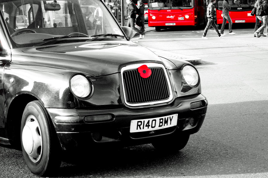 Black Cab Photograph - London - Cab and Poppy - Red by Jaime Scatena