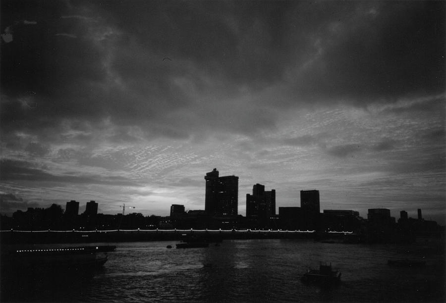 London at Sunset 1996  Black and White by Erik Paul