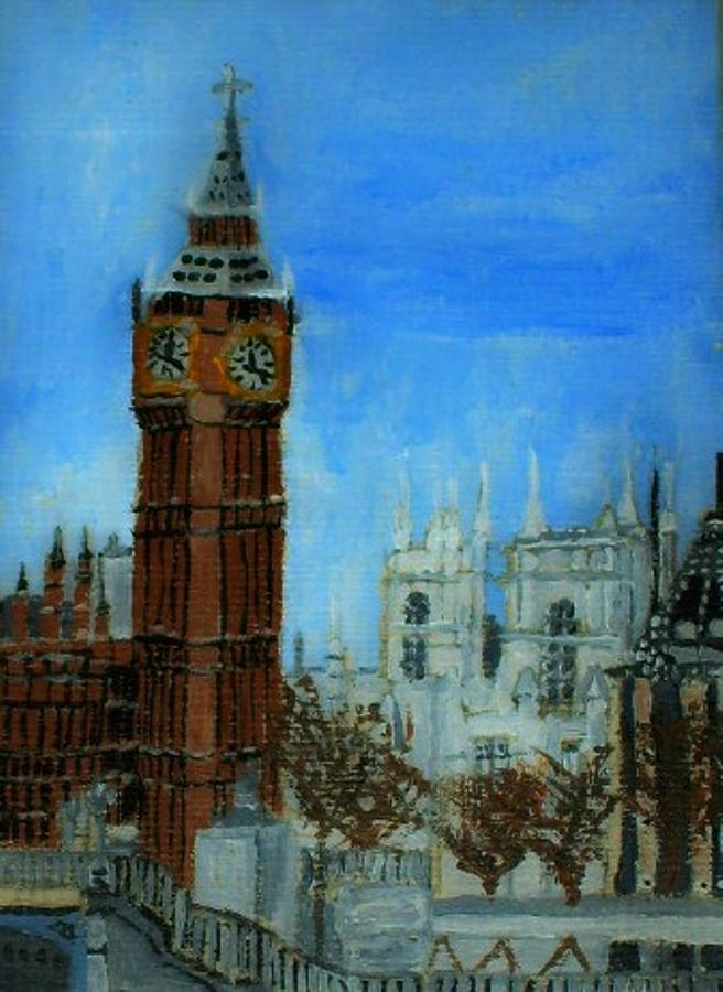 Aceo Painting - London Big Ben Clock  by Leslye Miller