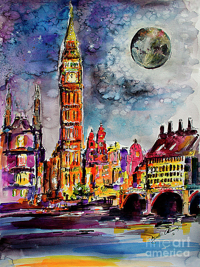 London Big ben Tower Moon Sky Painting by Ginette Callaway
