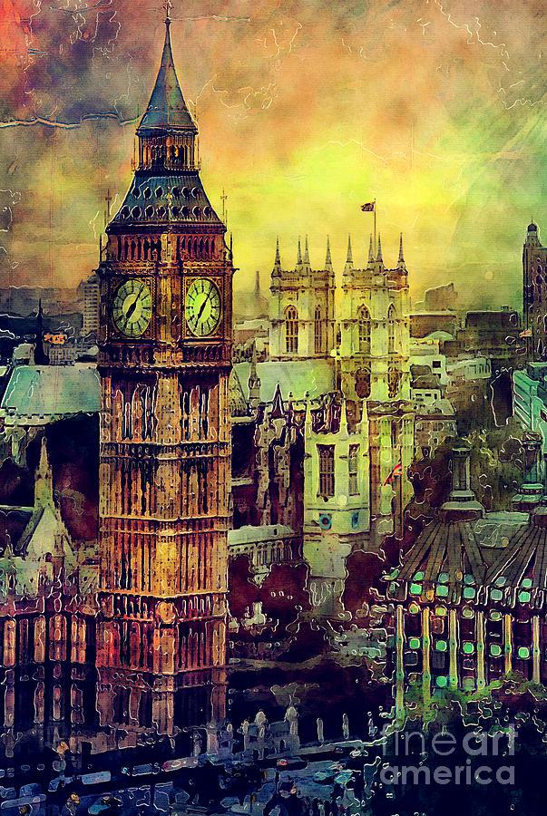 London Big Ben Watercolor Painting By Justyna Jaszke Jbjart