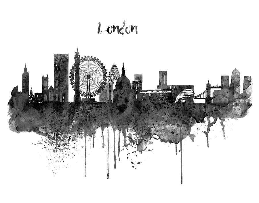 london black and white skyline watercolor painting by marian voicu