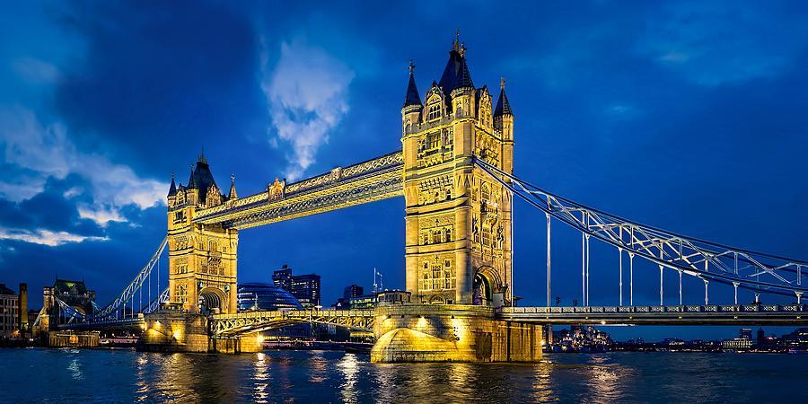 London Photograph - London Bridge Panorama by Jeff S PhotoArt